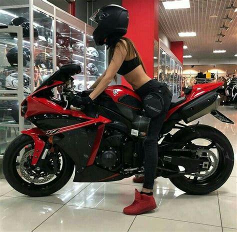 red  black yamaha  motorcycle  biker girl biker