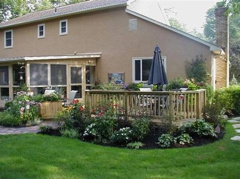 Landscaping Ideas Around Patio Landscape Ideas For Around A Patio Low To Grade Deck With Landscaping Wood Decks Photo