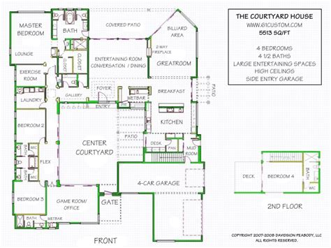 floor plans with courtyards courtyard home plan houses plans designs
