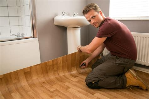Narrow Homes by Installing Floating Vinyl Tile Flooring For Small Bathroom