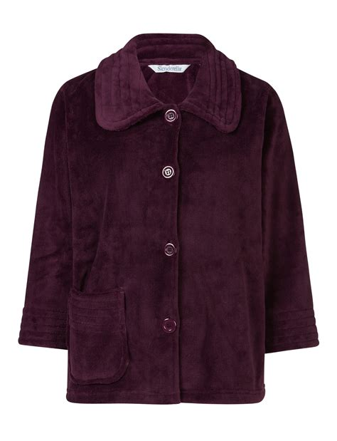 bed coat bed jacket womens button up soft fleecy ribbed detail