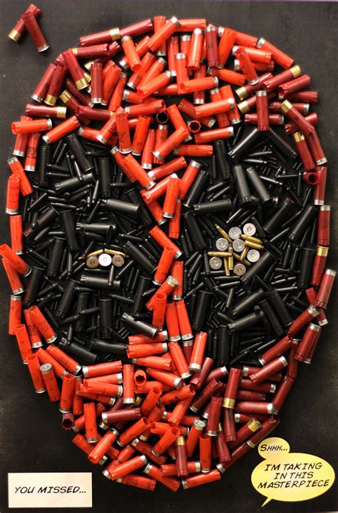 marvel heroes with weapons fb cover ocean deadpool s head recreated using bullets shotgun shells