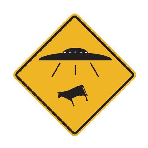 ufo cow abduction traffic sign repositionable wall
