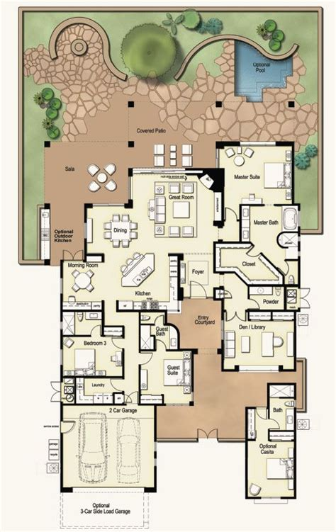 casita and courtyard classic 36812jg architectural house plans with attached casitas