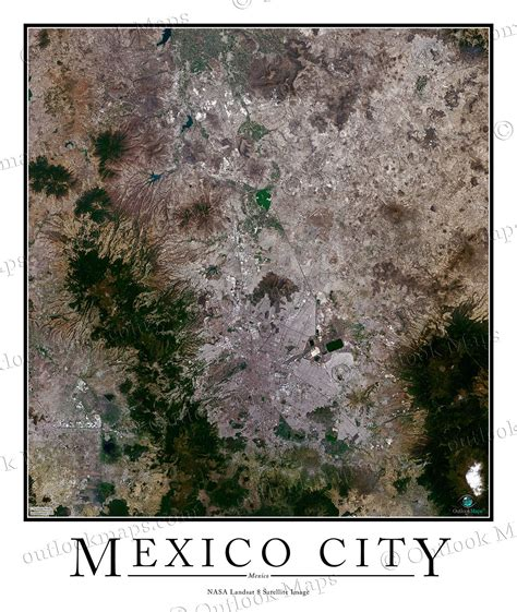 satellite maps mexico mexico city satellite map print aerial image poster