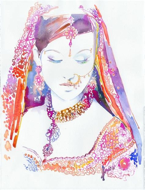 fashion illustration in india indian print watercolour indian brides indian indian costume indian wedding
