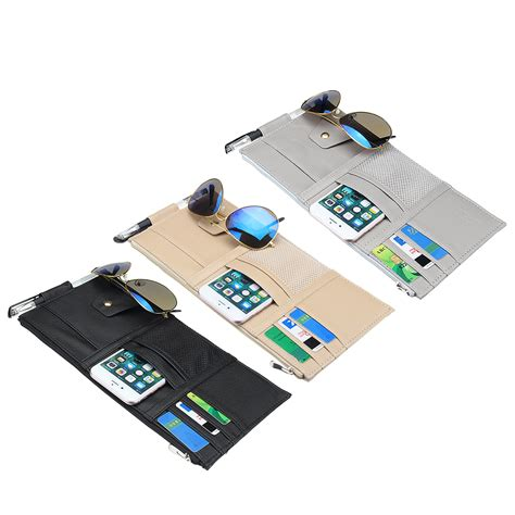 Car Sun Visor Bag Organizer pu leather car sun visor card holder multi function pen