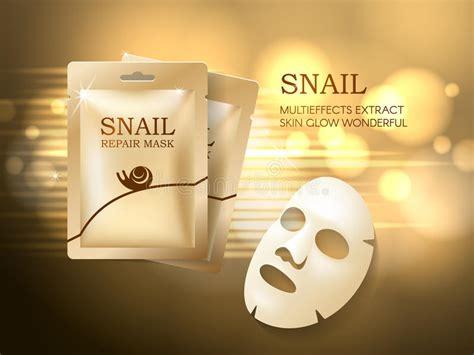 Masker Epoch Sachet snail cosmetic ads template mask and golden sachet