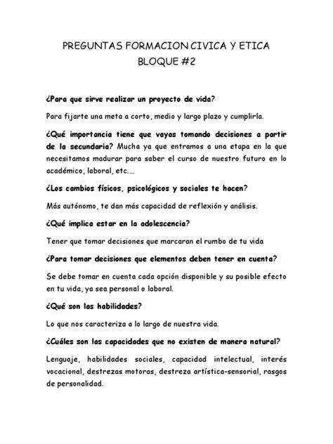 cuestionarios de lenguaje 4 y 5 grado docscom preguntas formacion civica y etica bloque