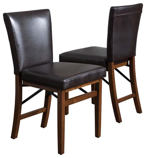 Folding Dining Room Chair Rosalynn Brown Leather Folding Dining Chairs Set Of 2 Contemporary Dining Chairs By