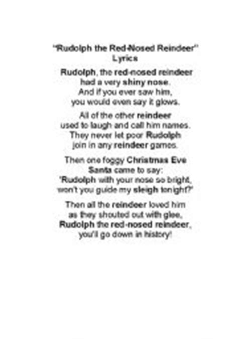 printable lyrics to rudolph the red nosed reindeer words to rudolph the red nosed reindeer printable f f
