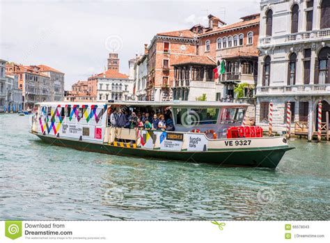 boats in venice crowded venice passenger boat in venice italy editorial