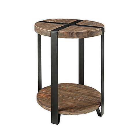 bed bath and beyond modesto modesto metal and reclaimed wood 20 inch round end table bed bath beyond