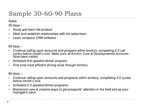 30 60 90 day sales plan template free sle 30 60 90 day plan for lifelong learning