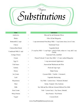 free printable vegan recipes printable vegan substitutions