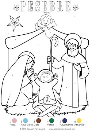 printable christmas coloring pages in spanish spanish color by number christmas pages nativity and