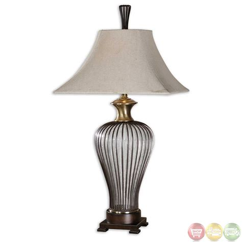 Donny Osmond Home Decor by Stoughton Dark Bronze Cage Amp Brown Seeded Glass Table Lamp