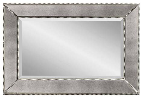 beaded antique silver rectangle wall mirror 24 x 36