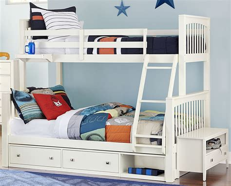 white full bed with storage pulse white twin over full bunk bed with storage 33050ns