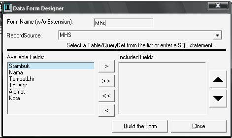 membuat database untuk visual basic menggunakan visual data manager untuk membuat database dan