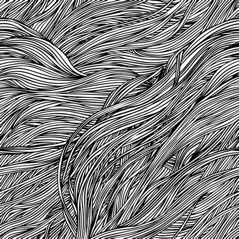 white hair pattern vector seamless black and white abstract hand drawn