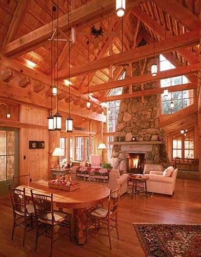 modern log cabin interior in maine house