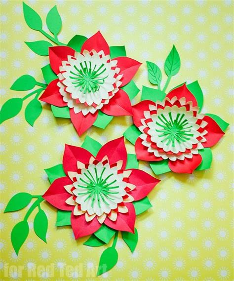 pattern for construction paper flowers pretty paper flowers diy including template red ted art