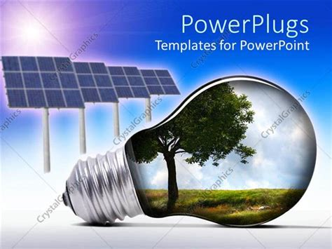 Powerpoint Template Light Bulb With Tree And Grass Inside Solar Lighting System Ppt