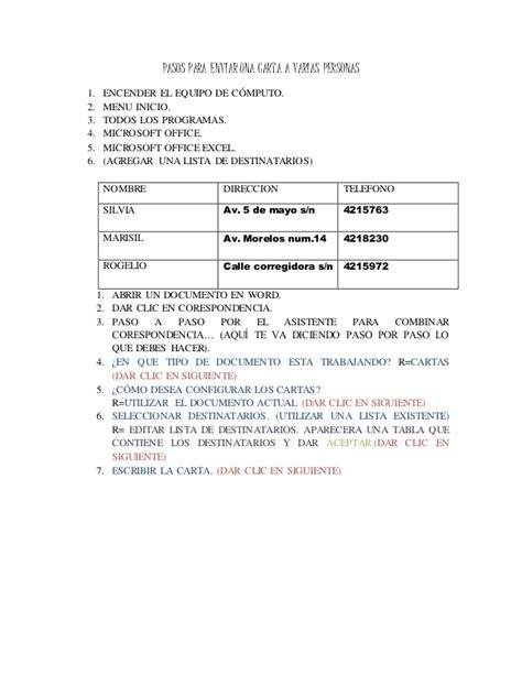 Carta Formal Varias Personas Pasos Para La Correspondencia