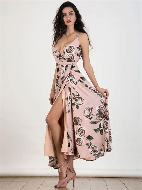 41345 Flower With Slit S M L Dress pink v neck print strappy backless split maxi dress