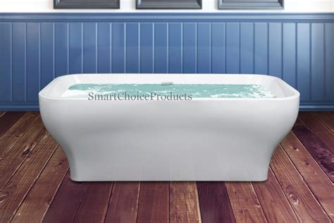 overflow bathtubs 67 quot rectangle white acrylic freestanding overflow