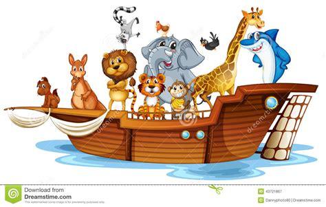 animal cartoon on boat animals on boat stock vector image 43721867
