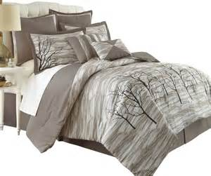 alison tree print 8 comforter set king taupe