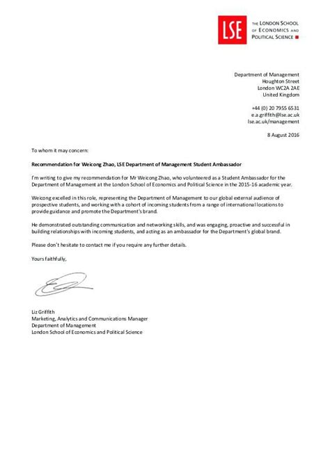 concern recommendation letter tier
