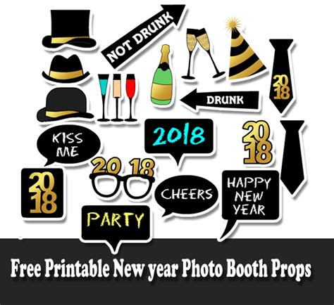 Printable Photo Booth Props New Year 2018 | free printable new year 2018 photo booth props