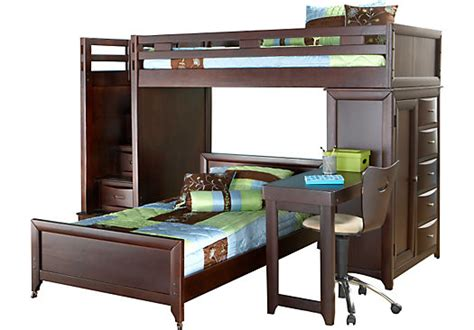 rooms to go kids bed ivy league cherry twin twin step loft bunk w chest and desk attachment twin beds