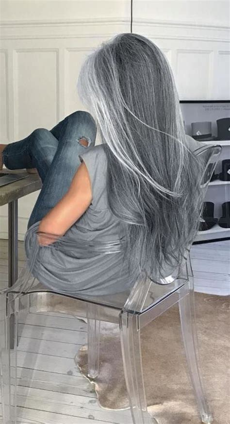 picture of long dark hair eith gray teverse frost holy crap my hair is silver streaks over dark brown white