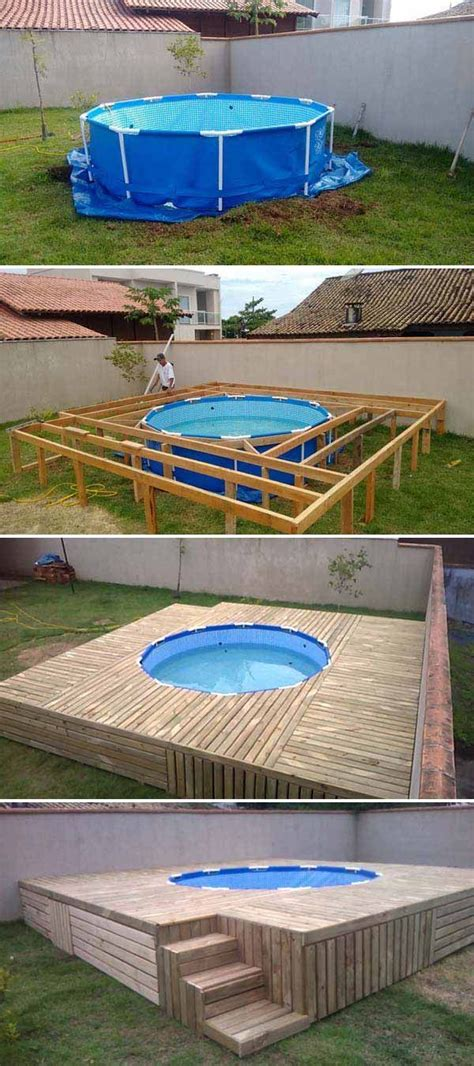 simple pool above ground pool deck top 19 simple and low budget