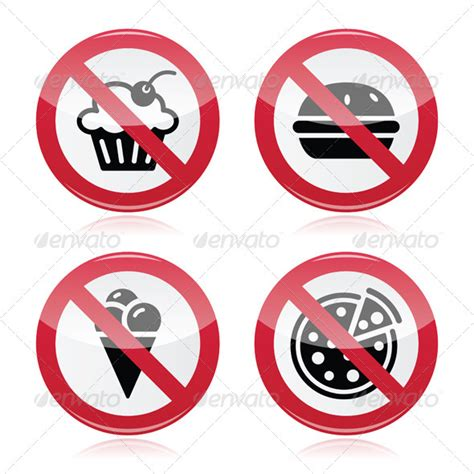 no fast food no sweets warning red sign graphicriver