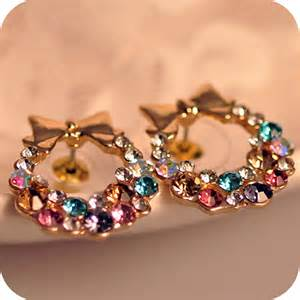 colorful earrings new 2015 beautiful bow stud earrings for