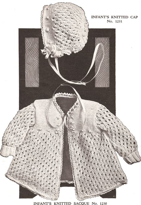 vintage knitting pattern baby bonnet vintage baby set bonnet cap sacque knitting pattern ebay