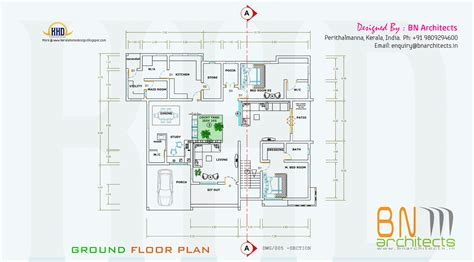 Floor plan, 3D views and interiors of 4 bedroom villa Kerala home design and floor plans