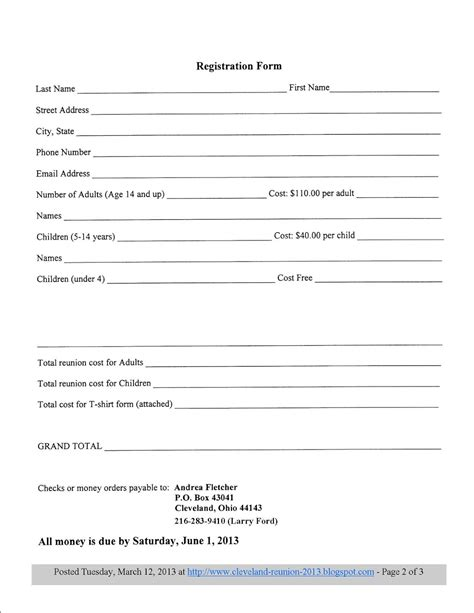 family reunion registration form template family reunion registration template pictures to pin on