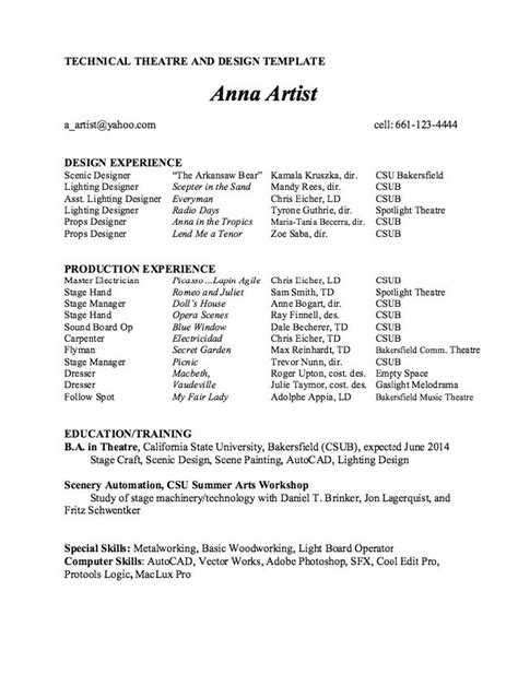technical theater resume sle technical theatre and design resume template sle http