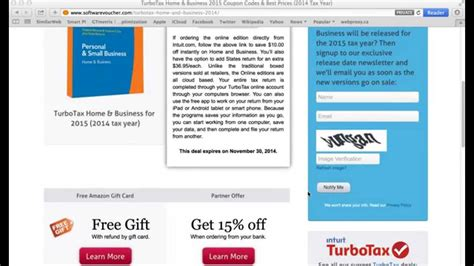 turbotax home business 2015 using a coupon code at