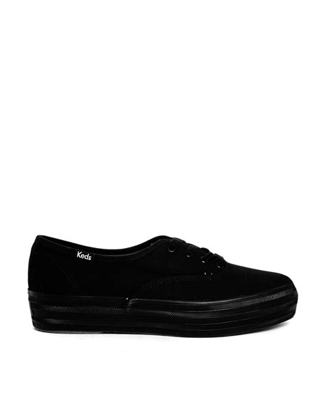 Keds Tripple Black White lyst keds chion black plimsoll trainers in black