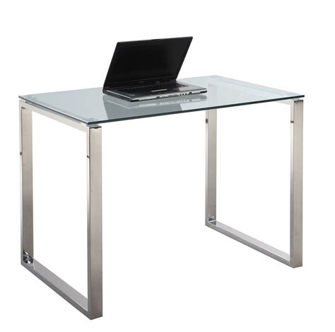 Glass Desk Modern Chintaly Imports 6931 Dsk Sml 6931 Small Computer Desk Table Clear Glass Stainless Steel