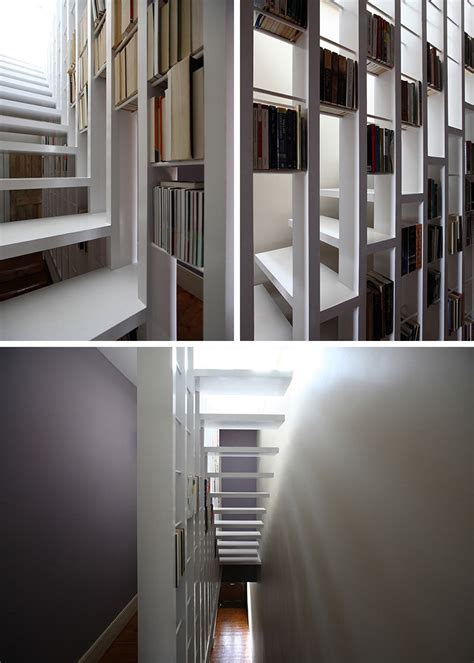 bookshelves stairs 9 stylish staircases with bookshelves as safety barriers