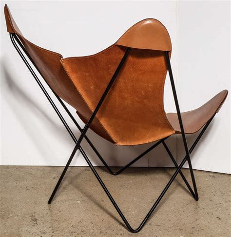 camel leather butterfly chair single knoll style hardoy butterfly chair at 1stdibs