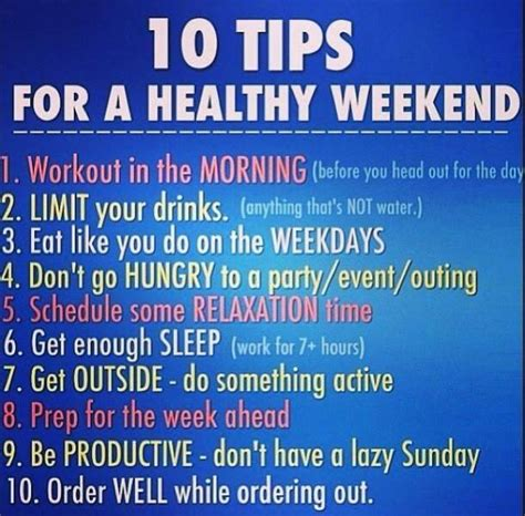 10 Tips To Be A by 10 Tips For A Healthy Weekend Beautiful Beyondxpectation